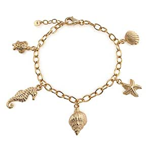 Bling Jewelry Gold Plated 925 Sterling Silver Conch Seashell Starfish Nautical Charm Bracelet 7.5in