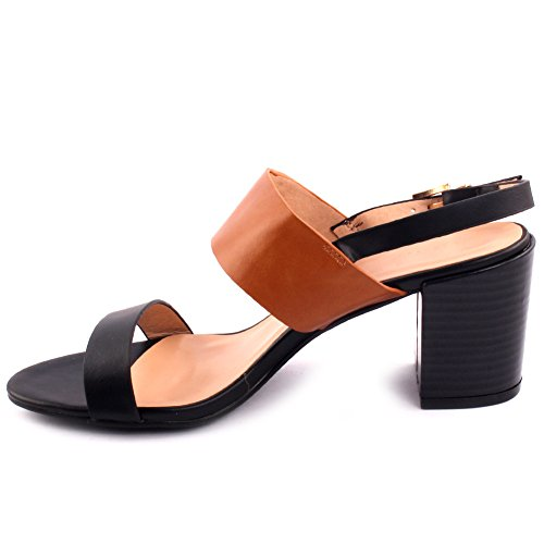 Unze Femmes 'Olaf' Double sangle Mid Low Block Heel Party Prom Get Together Carnaval Bureau Evening Sandals Talons Chaussures Uk Taille 3-8 Noir