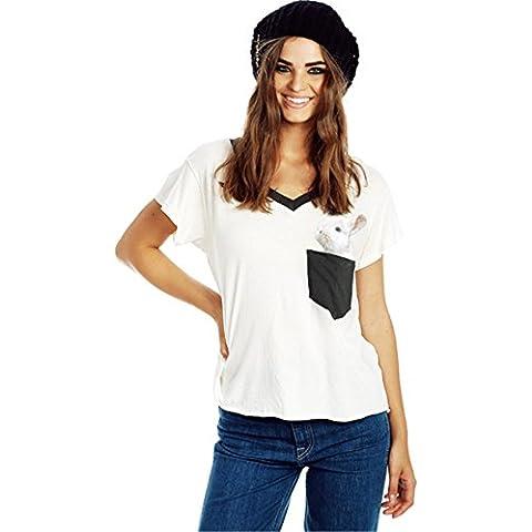 Scollo a V Tasca Fumetto Bunny Coniglio T-shirt Tee Maglietta