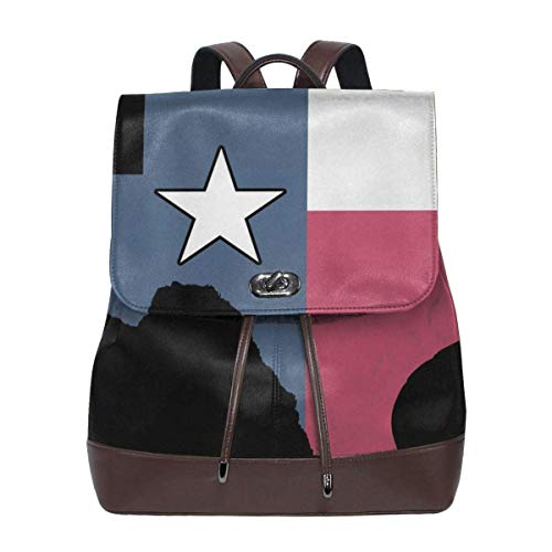 Flyup Women's Leather Backpack Trinity River, Texas Flag School Bag Elegant Daypack Travel Shoulder Bag For Men Frauen Leder Rucksack - Aus Handtaschen Bradley Leder Vera