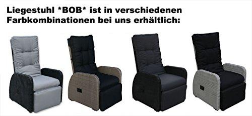 KMH® Polyrattan Liegestuhl Bob hellgrau - 4
