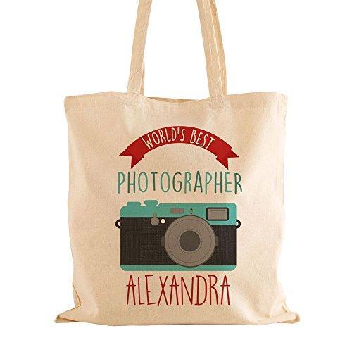 Personalizado fotógrafo temática de bolsa para la compra, algodón, con asas de hombro, fotografía de regalos para ella