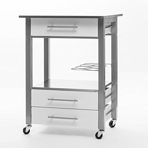 Inox Kitchen Storage Trolley Cart On Wheels With 3 Drawers And Wine Bottle Rack Search Furniture