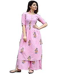 Ashwati Women's Cotton Anarkali Kurti With Palazzo Pant Set