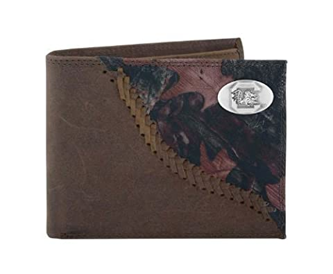 NCAA South Carolina Fighting Gamecocks Camouflage Leather Bifold Concho Wallet, One Size by Zeppelin Products, Inc.