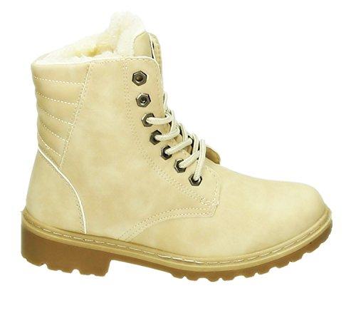Robuste Damen Stiefeletten Worker Schnür Boots Knöchelhohe Schnürstiefel Winter Schuhe Kurzschaft Warm Gefüttert 099 Beige