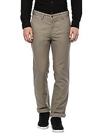 Turtle Men's Grey Slim Fit Casual Trouser