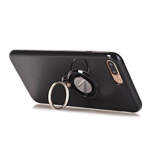 iPhone 7 Plus 5.5 Hülle, Voguecase Multifunktions-Abdeckung mit drehbarem Ring Halter Ständer für magnetischen Auto Mount Halter, Kickstand Case Schutzhülle / Case / Cover / Hülle / TPU Gel Skin für A Schwarz