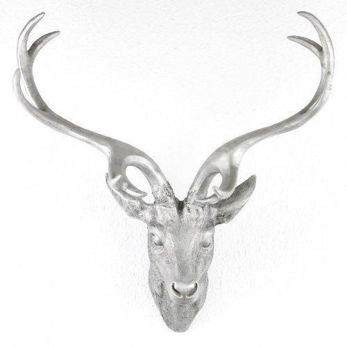 LINDER EXCLUSIV Hirschgeweih Hirschkopf Geweih 10-Ender in Silber, Metall-Optik 51 x 60 cm, Figur Skulptur Deko