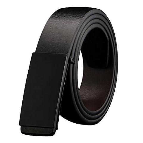YEX Men's Belt Genuine Leather Jeans Belt Black Plaque Buckle 43