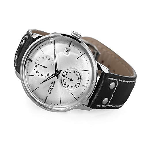 FEICE Herren Uhr Mechanisch Automatikwerk mit Gewölbtes Mineralglas Multifunktions Armbanduhren - FM212 (Silber)