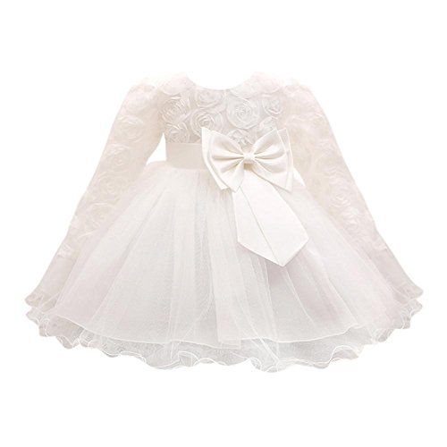 34bc7dd21 QUICKLYLY Vestidos Cortos Bautizo Bebé Niñas Princesa para Bodas Gasas  Manga Larga Princesa Tutu Traje (