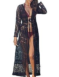MuRstido Largo Bikini Cárdigan Mujer, Trajes de Baño Cover Up Pareo Lace Vestido Playa Sexy