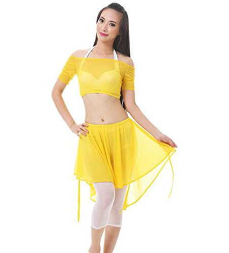 ZhiYuanAN 4Pcs Costume De Danse Du Ventre Set épaule Plat Tops & Soutien-Gorge & Jupe & Pantalon Set Jaune