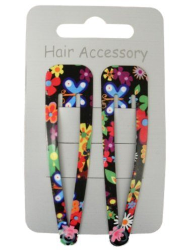 Pair Of Bright Floral Print Black Hair Clips Snap Bendies Sleepies 6.5cm (2.6