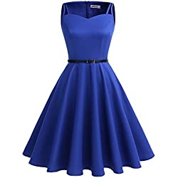 ALAGIRLS Vestido Vintage 1950s Rockabilly Mujer Sin Manga para Fiesta Azulreal XL