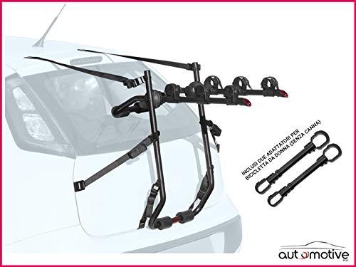Proposteonline Portabici Posteriore 3 Bici Omologato Compatibile con Lancia MUSA 5 Porte dal 2004 in Poi Inclusi Due Adattatori per Bicicletta da Donna Senza Canna 008966