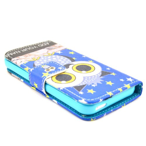MOONCASE iPhone 5C Case Motif Conception Coque en Cuir Portefeuille Housse de Protection Étui à rabat Case pour iPhone 5C P36