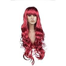 Largo 70cm rizada Mujer cosplay disfraz peluca sintética - Rojo 6ae68405583e