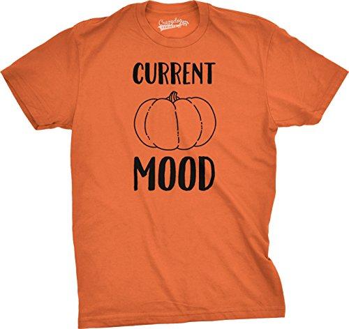Crazy Dog Tshirts Mens Current Mood Pumpkin Funny Halloween Fall T Shirt (Orange) L - Herren - (Urkomisch Kostüme Billige Halloween)
