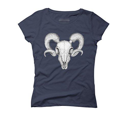 Ram Skull Women's Medium Navy Graphic T-Shirt - Design By Humans