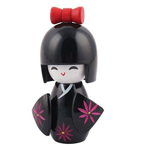DealMux Flor Grabado de Madera Hecho a Mano Inicio Oriental Japonesa de la Muchacha del Kimono de la muñeca de Kokeshi de la decoración