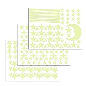 ETSAMOR Stelle Adesive Fluorescenti Stella e Lunna Adesivi da Parete Fluorescenti Decorazione per Casa Camera da Letto Soggiorno Soffitto Regalo di Feste Natale Compleanno di Bambini 216Pz