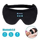 Masque oculaire Bluetooth en soie, écouteurs de sommeil, écouteurs de musique, de voyage, écouteurs de sommeil Bluetooth 5.0 mains libres, sommeil, haut-parleurs intégrés, microphone lavable
