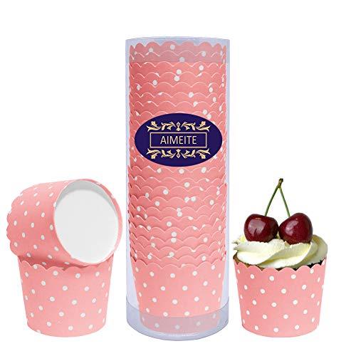 AIMEITE Cupcake Förmchen Backförmchen Papier Liners Cupcake Muffin Form Cupcake Wrappers Muffin Becher Papier Backformen Cupcake 24 Stück- Set (Rose Rot) (Rose Papier-backförmchen)