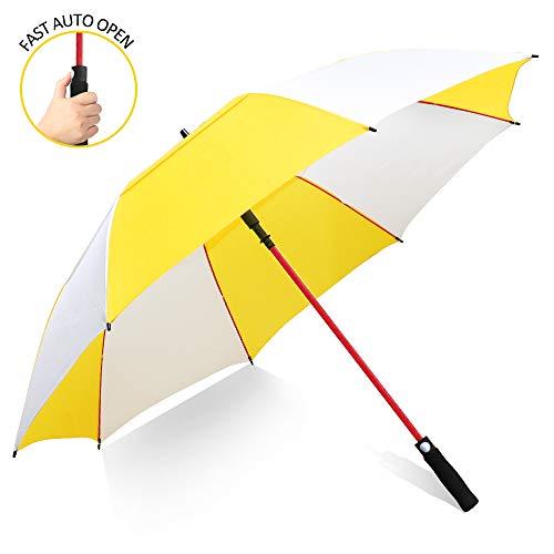 ZOMAKE 157cm Automatische Öffnen Golf Schirme Extra große Übergroß Doppelt Überdachung Belüftet Winddicht wasserdichte Stock Regenschirme (Gelb/Weiß)