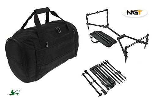 NGT–Caña de pesca Nomadic compacto negro Rod Pod y negro 50litros bolsa de utilidad