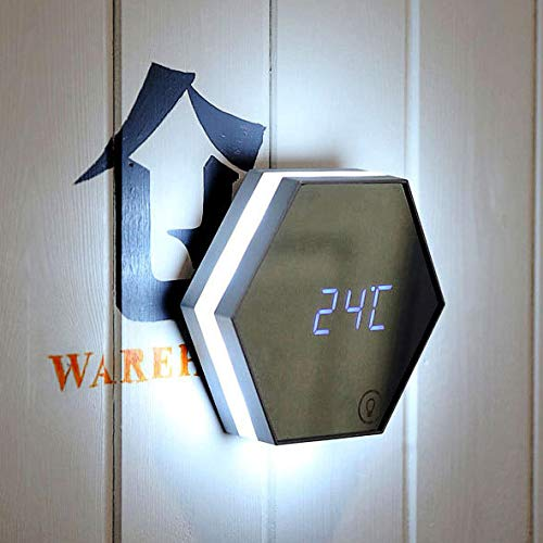 Multifunktionale LED Nachtlicht Wanduhr Thermometer Spiegel Glas Digital Wecker Silver