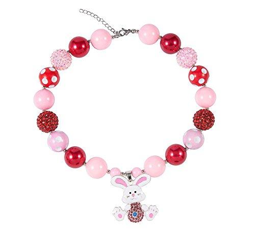 Prinzessin Dressing Up Kostüm Zubehör - Das beste Schmuck / Acryl Perlenkette mit niedlicher Cartoon Rosa Auferstehungskaninchen-Muster Kinder Halsketten handgearbeitet,geschenke für klein mädchen