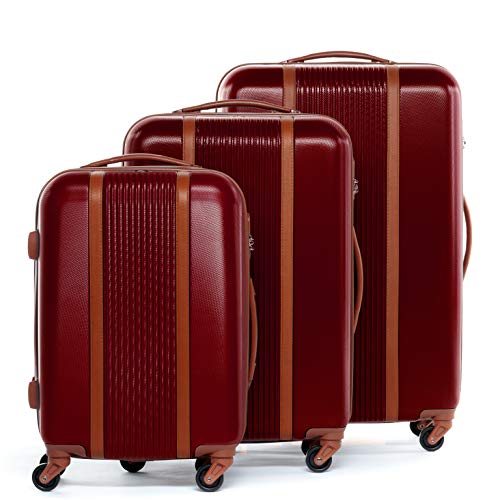 FERGÉ Kofferset Hartschale 3-teilig Milano Trolley-Set - Handgepäck 55 cm L XL - 3er Hartschalenkoffer Roll-Koffer 4 Rollen 100% ABS rot