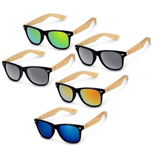 Navaris Wayfarer Holz Sonnenbrille / Damen Herren polarisiert UV400 / Brille mit Bambus Bügeln in Schwarz Schwarz