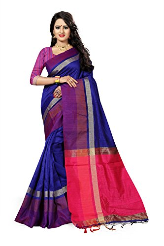 J B Fashion Women's Silk Saree With Blouse Piece (S-Bahubali-7_Blue)