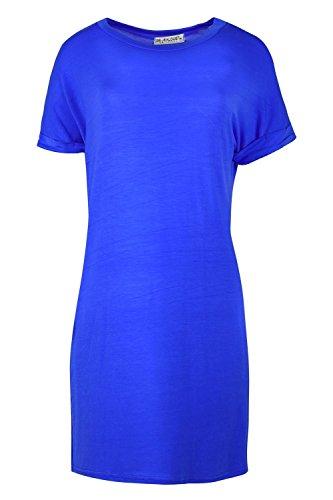 Femmes Revers Roulé Manches Coupe Ample Élastique Baggy Large Uni T-shirt Haut Robe Bleu Roi