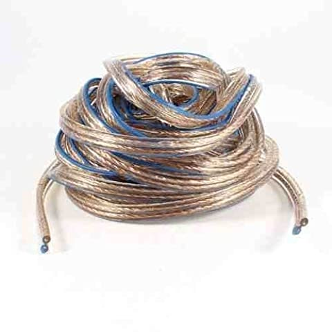 Deet® - Premium Quality PRO Oxygen Free Copper [OFC] Speaker Cable - Clear with Blue Marker. 10 Meter Roll. Ideal for Car and Home Hi Fi, including Surround Sound Cinema