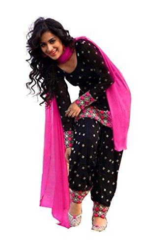 Pakiza Design Women Cotton Dress material (1517_black_black_Free Size)