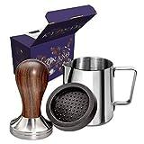 KYONANO Espresso Tamper 51 mm, Kaffee Tamper aus Hochwertigem Edelstahl und Echtholzgriff, Barista Tamper inkl. Tampermatte, Milchkännchen [350ml], kostenloser E-Books - Barista Set für Kaffeegenuss