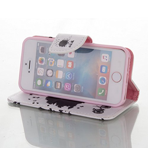 SainCat Cover iPhone 5 / 5s / SE,Fashion Design Dipinto Stand Intelligente Pelle PU Flip Stare Supporto Cover Case Caso,Elegante Pieghevole Capovolgere Leather Copertinat Caso Con Porta Carte Di Credi Tempo Nero