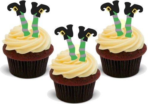 WITZIGE HALLOWEEN HEXE BEINE - 12 essbare hochwertige stehende Waffeln Kuchen Toppers - FUNNY HALLOWEEN WITCH LEGS