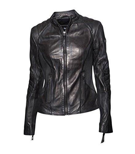 TIGHA Damen Lederjacke Gipsy Bikerjacke Jacke Leder - Leder - grau vintage black L