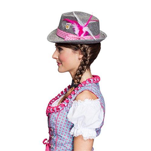 Bayernhut Moni Trachtenhut Oktoberfest Dirndl Hut Wiesn (Pink) - 2