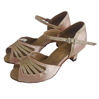 Scarpe da ballo-Personalizzabile-Da donna-Balli latino-americani / Salsa-Tacco su misura-Raso / Brillantini-Nero / Altro Black