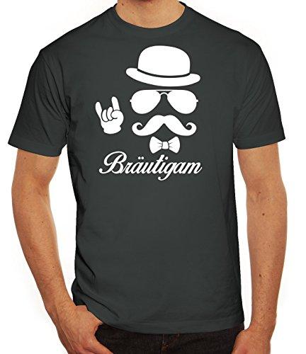 Junggesellenabschied JGA Herren Männer T-Shirt Rundhals Sunglasses Bräutigam Kombi, Größe: L,Darkgrey