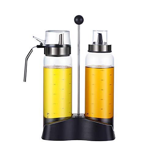 HYXQYYP 500ml Öl- und Essig-Set, Öl- und Essigspender, Cruet-Glasflasche, 2-teiliges Cruet für Olivenöl und Essig mit passendem Ständer (Farbe : A-500ML+500ML+Stand) Cruet Stand