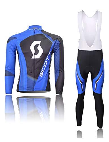 Fonly Männer und Frauen Jersey Langarm Anzug Mountain Bike Radfahren Shorts ausgestattet Fahrradkleidung Radfahren Jersey (Color : W-Bib, Size : XXXL:(180-192cm)(90-99kg))