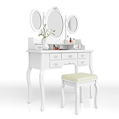 Dressing Table + Stool Makeup Table Storage Mirror Bedroom Vanity Queen Rose