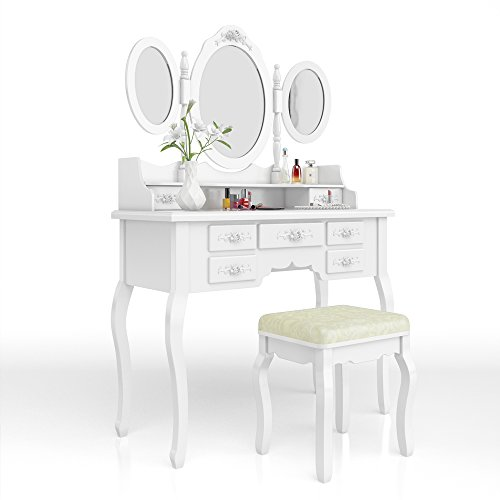 Schminktisch Kosmetiktisch Frisierkommode Frisiertisch Spiegel Queen Rose weiß mit Lichterkette - 2